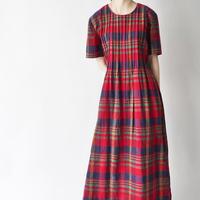 pin tuck linen+cotton plaid dress