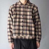 plaid double face wool  shirt jacket/unisex