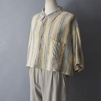 half sleeve short length stripe shirt