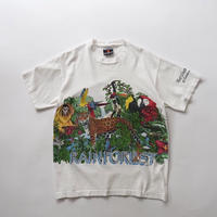 90's Rainforest cafe total pattern print T-shirt/for ladies'