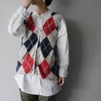 100%cotton argyle pattern knit vest/unisex
