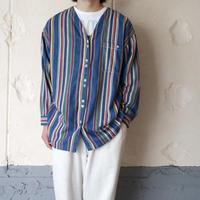 colorful stripe V neck shirt