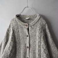 no collar cable knit cardigan/ladies'
