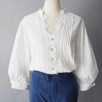 Euro old cotton balloon sleeve Tyrol blouse