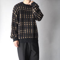 100% cotton block pattern knit sweater/unisex