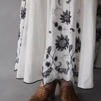 Indian cotton sunflower embroidery long skirt