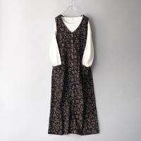 corduroy botanical pattern sleeveless dress