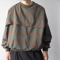 argyle check pattern nylon pullover/unisex
