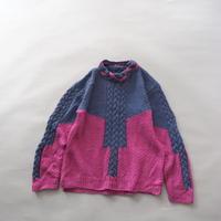 crazy color scheme cable knit sweater/ladies'