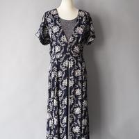 dot & botanical pattern layered dress