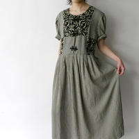 gingham check china buttons design dress