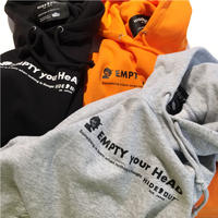 「EMPTY your HeAD」スウェットパーカー  grey/orange/black/M/L/XL
