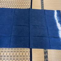 かさばらないリネン100% バスタオル 日本の正藍染で染めています。