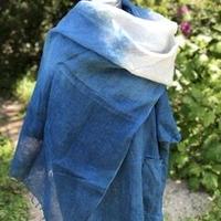 大判リネン100% ストール 日本の正藍染で染めています。