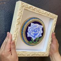 「Blue Rose」円形立体板絵テンペラ画