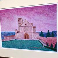 「アッシジの黄昏ー聖フランチェスコ教会」オリジナル・ジークレーアート