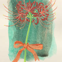 「秋の彩りー彼岸花」画用紙にテンペラ画