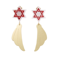 Hexagram Earring (Red)