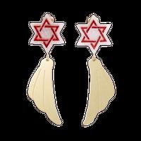 Hexagram Earring (Red)