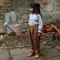 Nellie Quats / Jumping Jack Trousers - Rose & Caramel Check Linen 5-6Y / 7-8Y