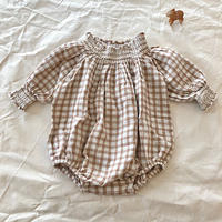 liilu / Smocked Romper - Check