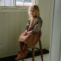 Nellie Quats / Marlow Pinafore - Rose & Caramel Check Linen 5-6Y / 7-8Y