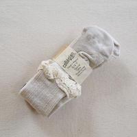 Collégien / Daphné Pointelle Merino Wool Tights with Merino Lace Trim - Cream