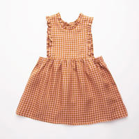 Nellie Quats / Marlow Pinafore - Rose & Caramel Check Linen 18-24M / 3-4Y