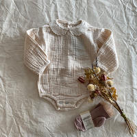 tocoto vintage / Body with embroidery details on collar - OFF-WHITE
