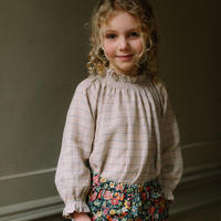 Nellie Quats / Mother May I Blouse - Oat & Cornflower Windowpane Check Linen 5-6Y / 7-8Y