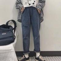シンプル韓国ファッションデニムパンツ