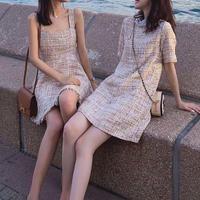 韓国スタイルリネン編みのつりスカート/半袖ワンピース
