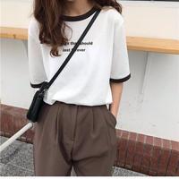 ※全品送料無料🦋英字プリントカラーマッチングTシャツ