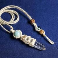 ヒマラヤ水晶 ネックレス マニカラン産 ヘンプ (ラリマー・etc)