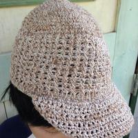 ヘンプ&コットンアフガン編みキャスケット プレーン