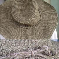 オーバル型アフガン編みのヘンプコットンハットつば10cm