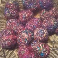 リサイクルシルク&ヘンプの手紡ぎ糸20gx4個セット