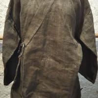 ヒマラヤンネトルの作務衣風上着 ミロバラングリーン