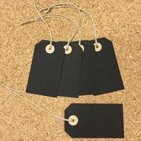 ぷんぷく堂【手作り 黒板色の荷札カード(黒)】5枚入