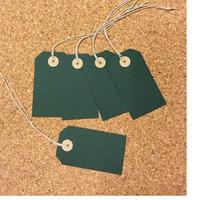 ぷんぷく堂【手作り 黒板色の荷札カード(緑)】5枚入