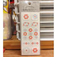 活版印刷のシール花フレーム柄<水色> midori