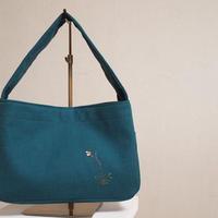 繍 ぬいとり    h-3 おさんぽかばんS 野花 深緑