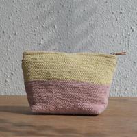 大谷房子 裂き織りのポーチ クリームイエロー×ピンク系