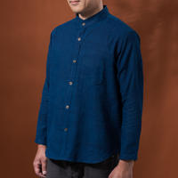 Indigo shirt:men's  (plain/stand coller)