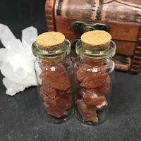 タンザニア産サンストーン 原石 ラフカット ガラス瓶入り10g