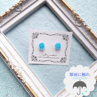 小さな宝石ピアス(アクアマリンカラー)«翠雨に触れ»