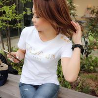 金ボタンロゴ Tシャツ