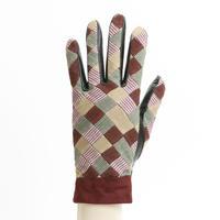 保多織をうまげによっけ繋いだ手袋(婦人用)ワイン