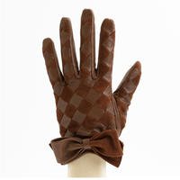 1/25DS革繋ぎ手袋(婦人用)ブラウン