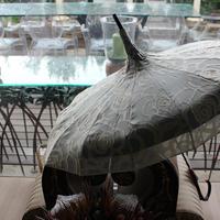 ホワイト&グリーンレース16日傘